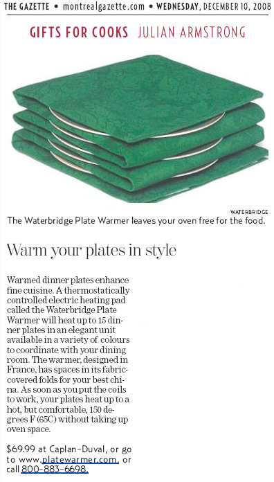 Platewarmer Featured in Montreal Gazette